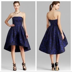 Monique Lhuillier Strapless High-Low Print Dress